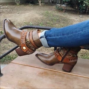 Shoes - Vegan Brown Western Boho Ankle Boots